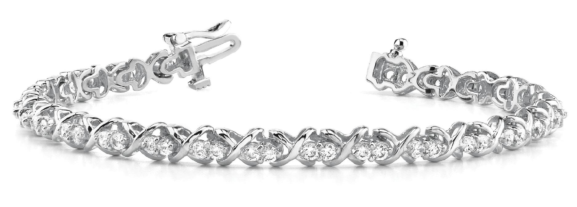 1 1/4 ct tw 14kt gold<br> White Bracelet 56 -<br> .022PT Round