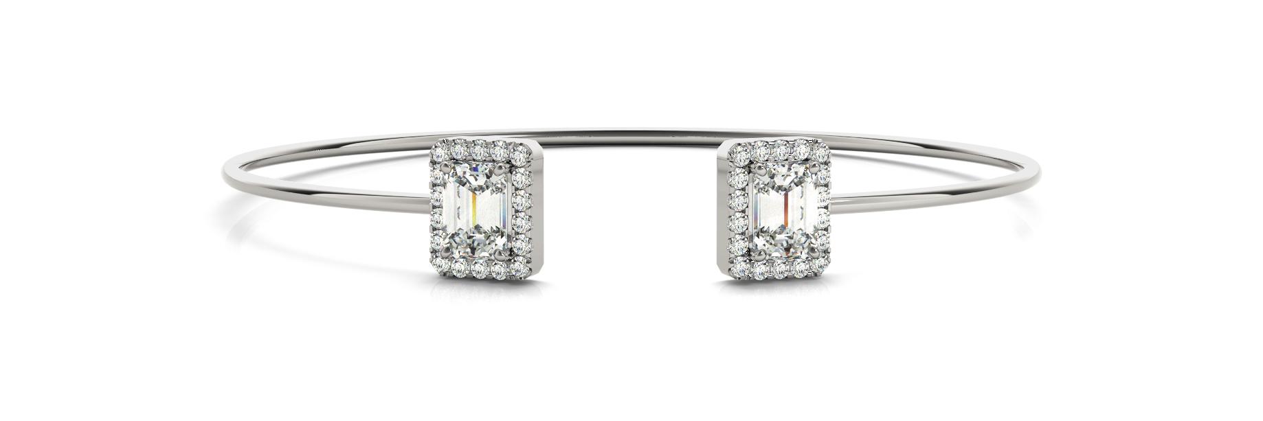 2 1/3 ct tw 14kt gold White Bracelet 2 - 7X5 Emerald ,36 - .01PT Round