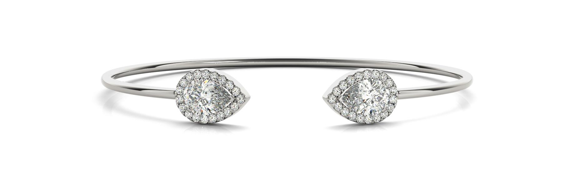 1 1/8 ct tw 14kt gold White Bracelet 2 - 7X5 Pear ,40 - .006PT Round