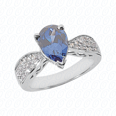 Pear Cut Diamond Unique Engagement Ring 0.38 CT. Color Stone Rings Style