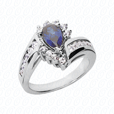 Pear Cut Diamond Unique Engagement Ring 0.58 CT. Color Stone Rings Style