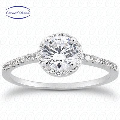 14KW Halo Petite  Cut Diamond Unique Engagement Ring 0.22 CT. Petite Style