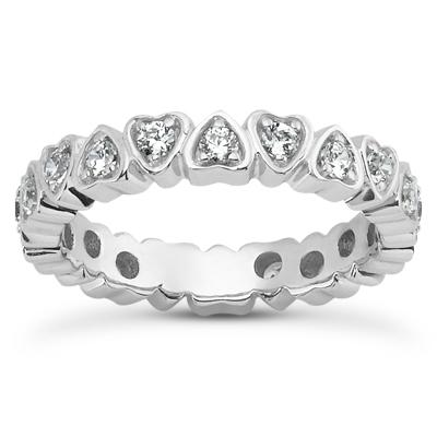 14KW  Round Cut Diamond Unique Engagement Ring 0.54 CT. Eternity Wedding Bands Style
