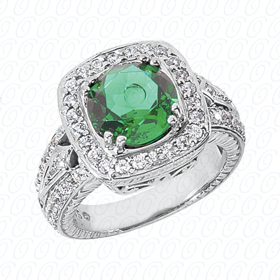 14KW Round Cut Diamond Unique Engagement Ring 0.74 CT. Color Stone Rings Style