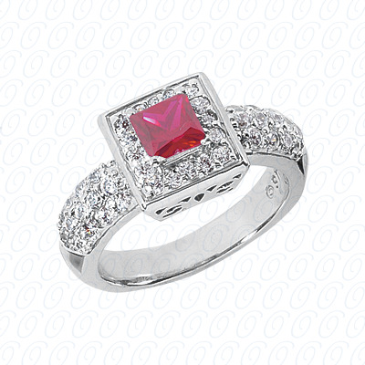 14KW Princess Cut Diamond Unique Engagement Ring 1.26 CT. Color Stone Rings Style