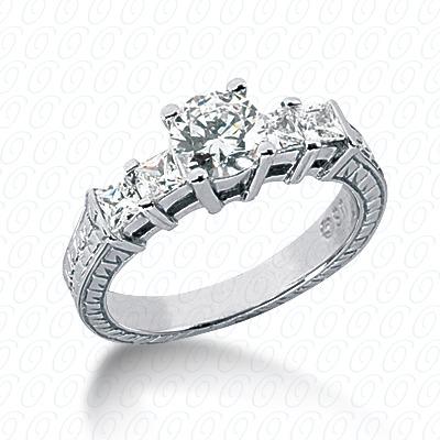 14KW Antique Cut Diamond Unique Engagement Ring 0.56 CT. Engagement Rings Style