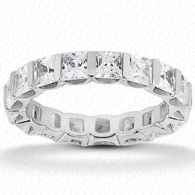 14KW Princess Cut Diamond Unique Engagement Ring 1.05 CT. Eternity Wedding Bands Style