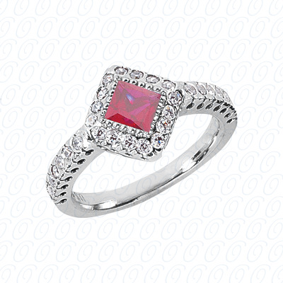 14KW Princess Cut Diamond Unique Engagement Ring 0.80 CT. Color Stone Rings Style