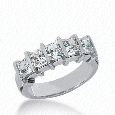 14KW Bar Set Cut Diamond Unique Engagement Ring 2.50 CT. Princess Style