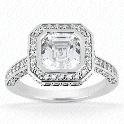 14KW Asscher Cut Diamond Unique Engagement Ring 0.72 CT. Halo Style