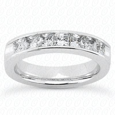 14KW Bar Set Cut Diamond Unique Engagement Ring 1.35 CT. Princess Style