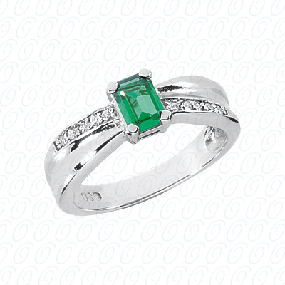 14KW Emerald Cut Diamond Unique Engagement Ring 0.10 CT. Color Stone Rings Style