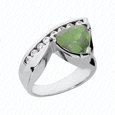 14KW Trillion Cut Diamond Unique Engagement Ring 0.32 CT. Color Stone Rings Style