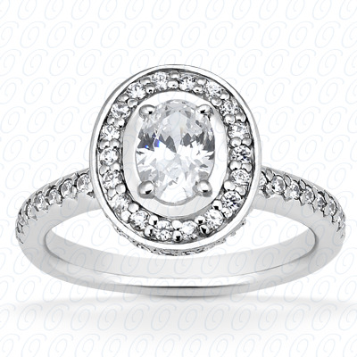 14KW Oval Cut Diamond Unique Engagement Ring 0.83 CT. Halo Style