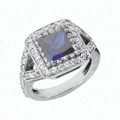 14KW Princess Cut Diamond Unique Engagement Ring 0.67 CT. Color Stone Rings Style