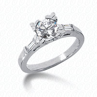 14KW Baguette Bar Cut Diamond Unique Engagement Ring 0.24 CT. Bq Side Stones  Style