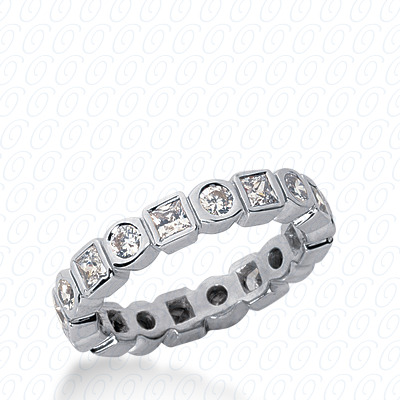 14KW Combinations Cut Diamond Unique Engagement Ring 1.28 CT. Eternity Wedding Bands Style