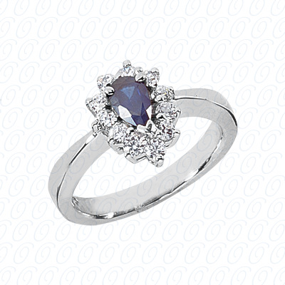 Pear Cut Diamond Unique Engagement Ring 0.73 CT. Color Stone Rings Style