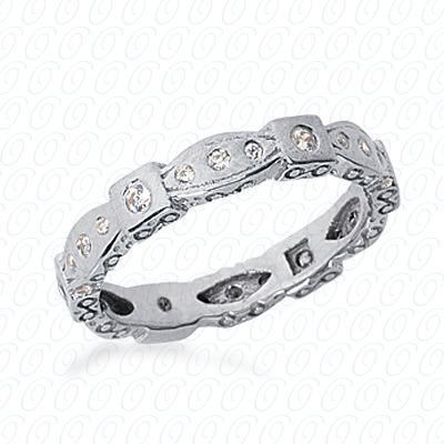 14KW  Round Cut Diamond Unique Engagement Ring 0.24 CT. Eternity Wedding Bands Style