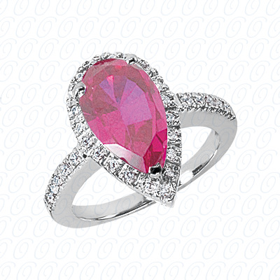 Pear Cut Diamond Unique Engagement Ring 0.30 CT. Color Stone Rings Style