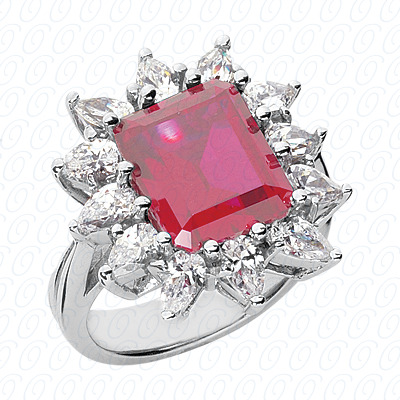 14KW Emerald Cut Diamond Unique Engagement Ring 3.00 CT. Color Stone Rings Style