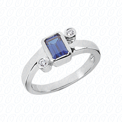 14KW Emerald Cut Diamond Unique Engagement Ring 0.06 CT. Color Stone Rings Style