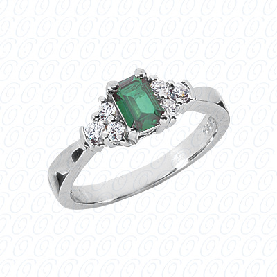 14KW Emerald Cut Diamond Unique Engagement Ring 0.22 CT. Color Stone Rings Style