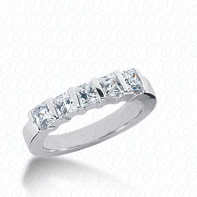 14KW Bar Set Cut Diamond Unique Engagement Ring 0.85 CT. Princess Style
