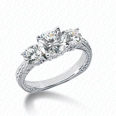 14KW Antique Cut Diamond Unique Engagement Ring 0.70 CT. Engagement Rings Style
