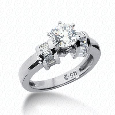 14KW Baguette Bar Cut Diamond Unique Engagement Ring 0.48 CT. Bq Side Stones  Style