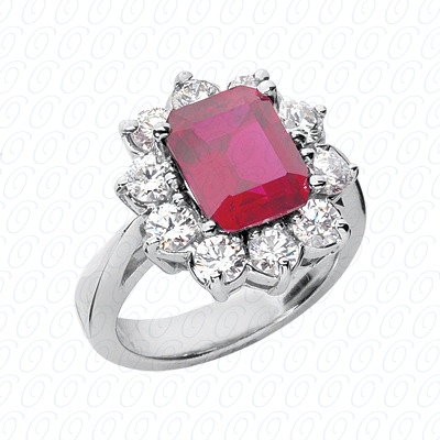 14KW Emerald Cut Diamond Unique Engagement Ring 1.50 CT. Color Stone Rings Style