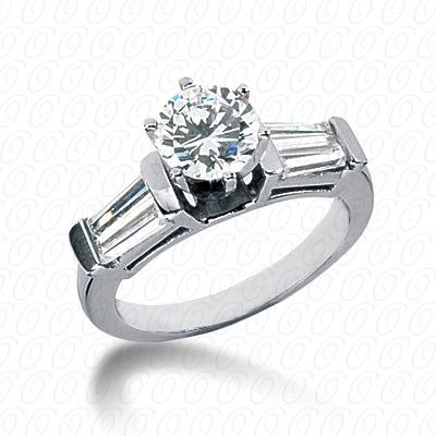 14KW Baguette Bar Cut Diamond Unique Engagement Ring 1.00 CT. Bq Side Stones  Style
