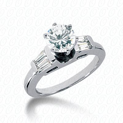 14KW Baguette Bar Cut Diamond Unique Engagement Ring 0.32 CT. Bq Side Stones  Style