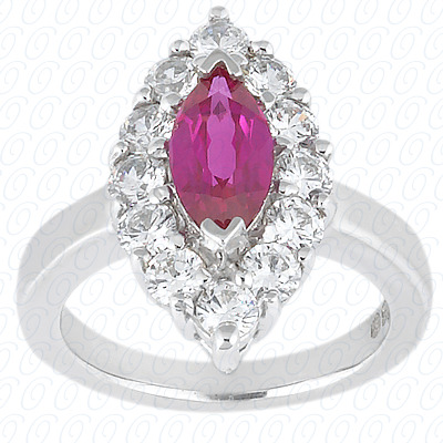 14KW Marquise Cut Diamond Unique Engagement Ring 0.36 CT. Color Stone Rings Style