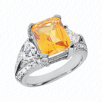 14KW Emerald Cut Diamond Unique Engagement Ring 1.32 CT. Color Stone Rings Style