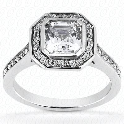 14KW Asscher Cut Diamond Unique Engagement Ring 0.34 CT. Halo Style