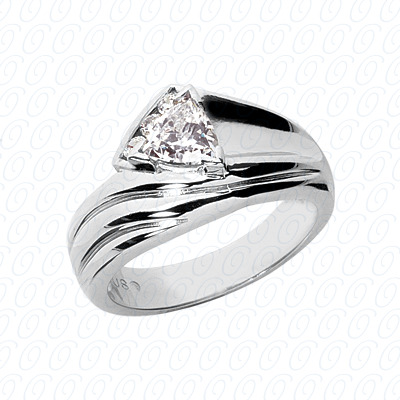 14KW Trillion Cut Diamond Unique Engagement Ring 0.09 CT. Color Stone Rings Style