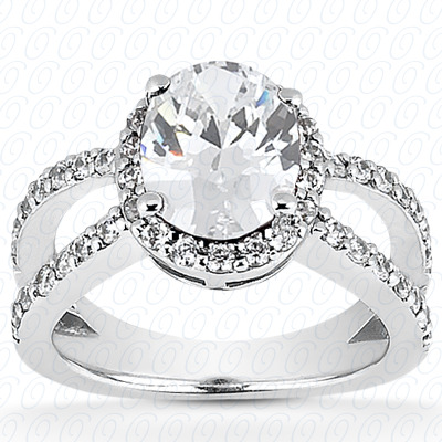 14KW Oval Cut Diamond Unique Engagement Ring 0.63 CT. Halo Style