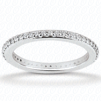 14KW  Round Cut Diamond Unique Engagement Ring 0.40 CT. Eternity Wedding Bands Style
