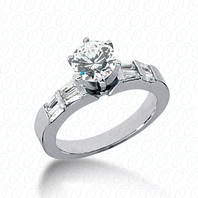 14KW Baguette Bar Cut Diamond Unique Engagement Ring 0.44 CT. Bq Side Stones  Style