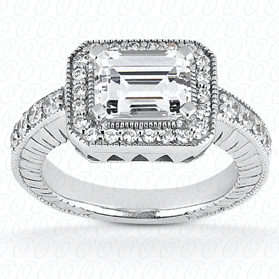 14KW Emerald Cut Diamond Unique Engagement Ring 0.32 CT. Color Stone Rings Style