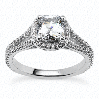 14KP Cushion Cut Diamond Unique Engagement Ring 0.23 CT. Solitaires Style