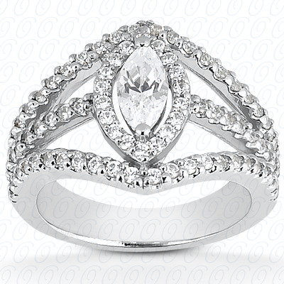 14KW Marquise Cut Diamond Unique Engagement Ring 0.70 CT. Color Stone Rings Style