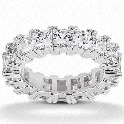 14KW Princess Cut Diamond Unique Engagement Ring 3.40 CT. Eternity Wedding Bands Style