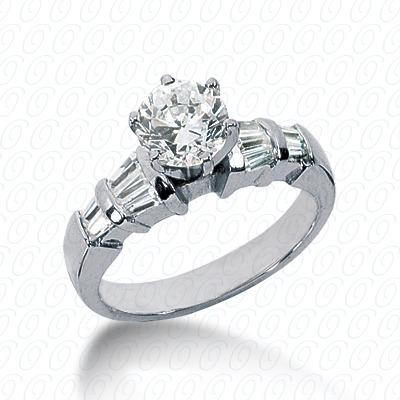 14KW Baguette Bar Cut Diamond Unique Engagement Ring 0.46 CT. Bq Side Stones  Style
