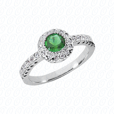 14KW Round Cut Diamond Unique Engagement Ring 0.26 CT. Color Stone Rings Style