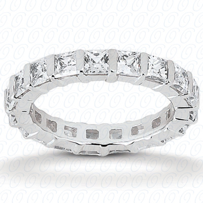 14KW Princess Cut Diamond Unique Engagement Ring 1.15 CT. Eternity Wedding Bands Style