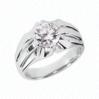 14KW Solitaires Cut Diamond Unique Engagement Ring 0.00 CT. Mens Rings Style