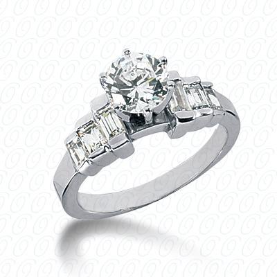 14KW Baguette Bar Cut Diamond Unique Engagement Ring 0.56 CT. Bq Side Stones  Style