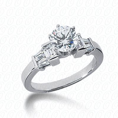 14KW Baguette Bar Cut Diamond Unique Engagement Ring 0.58 CT. Bq Side Stones  Style